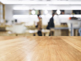 Table top with People and blurred kitchen background poster
