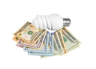Energy saving light bulb and money on white