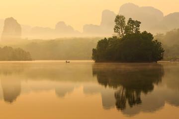 Lake and mountain in sunrise
