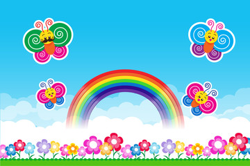 Butterfly  Rainbow on Nature background with green grass and flo