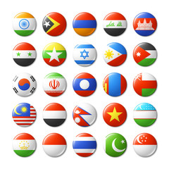 World flags round badges, magnets. Asia.