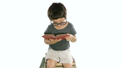 Boy Reading Book White Background