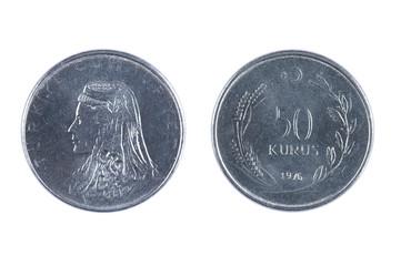 Turkey kurus coin on white