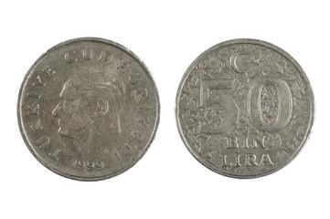 Turkey Lira isolated on white