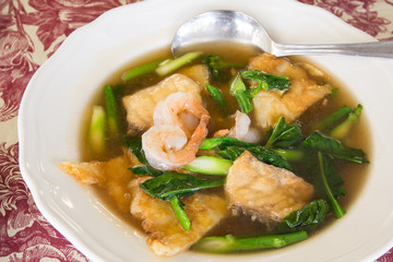 Noodles with shrimp delicious tradition thailand food