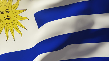 Uruguay flag waving in the wind. Looping sun rises style