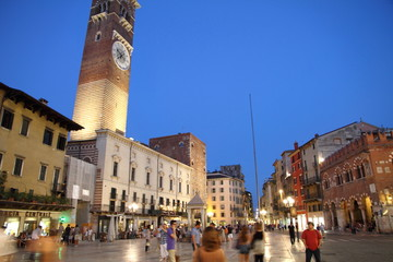Italy, Verona, Lamperti Tower and Palazzo della Ragione