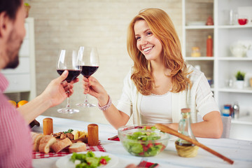 Couple with red wine