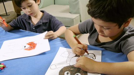 Young Boys Coloring Bear Drawings