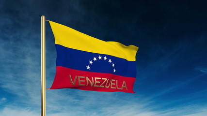 Venezuela flag slider style with title. Waving in the wind with