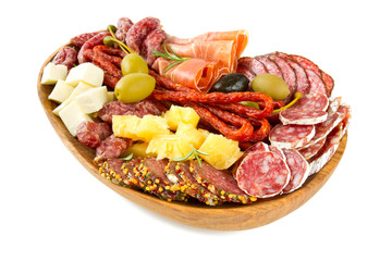 Antipasti and catering platter with different meat and cheese pr