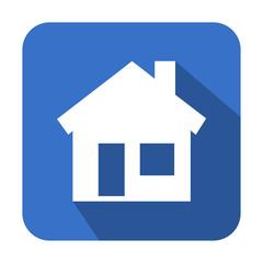 Icono cuadrado azul casa con sombra
