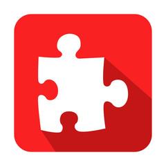 Icono cuadrado rojo puzzle con sombra