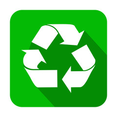 Icono cuadrado verde reciclaje con sombra