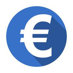 Icono redondo azul euro con sombra
