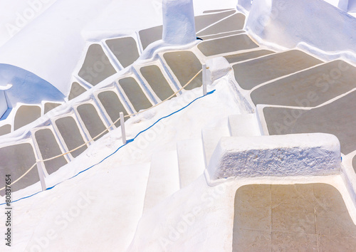 Aluminium Trappen Beautiful steps in Oia at Santorini island in Greece