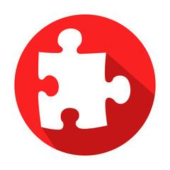 Icono redondo rojo puzzle con sombra