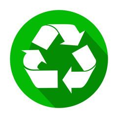 Icono redondo verde reciclaje con sombra
