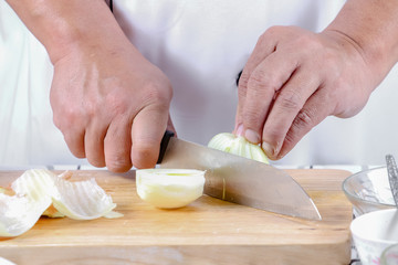 Chef sliced onions