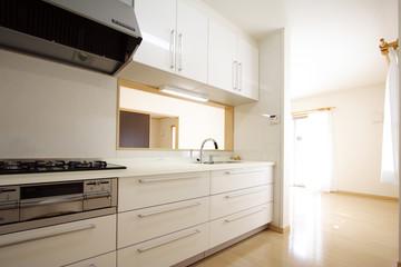 自然光が入る 対面式 キッチンとリビング イメージ シンプル家具なし 施工例