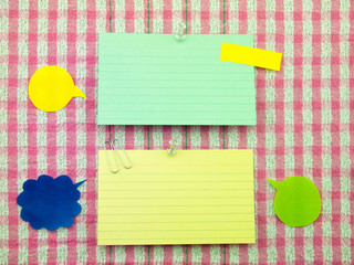 Colorful Balloons and Notes (Pink Fabric Background)