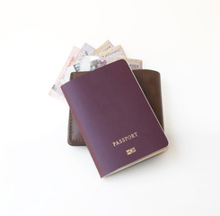 Old passport and wallet