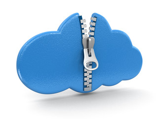 Cloud with zipper (clipping path included)