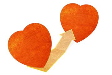 paper heart concept label