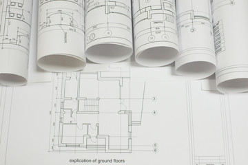 Scrolls architectural drawings on explication of ground floor