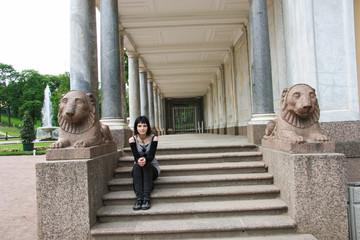 Goth Girl sit near column