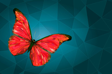 Abstract red butterfly on geometric background