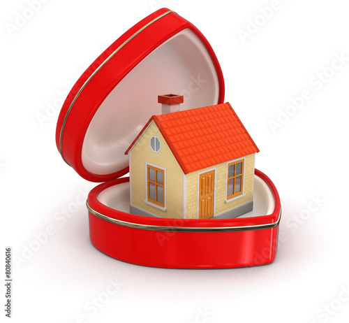 house in the heart box (clipping path included)
