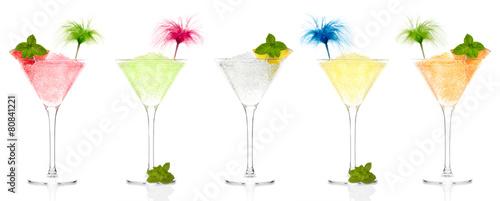 Selection of fruit granitas in cocktail glasses