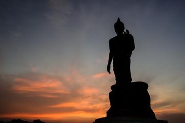 Silhouette Buddha statue