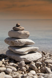 Stack of stones, Zen concept, on sandy beach - 80841810