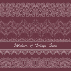 Vector Set of Vintage Template with Ornate Laces