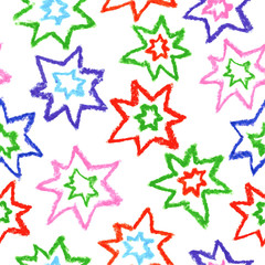Child's drawing of multicolor stars. Seamless pattern, vector