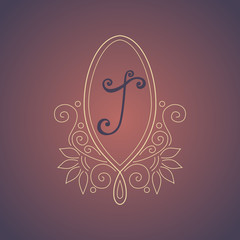 Vector Vintage Template with Ornate Monogram