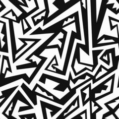 monochrome tribal geometric seamless pattern