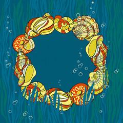 Hand drawn seashells, seaweed andbubbles card