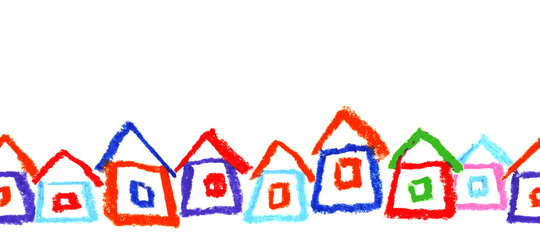 Child's drawing of houses. Seamless border. Vector.
