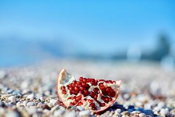 pomegranates on the beach