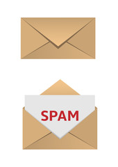 Envelope with spam message