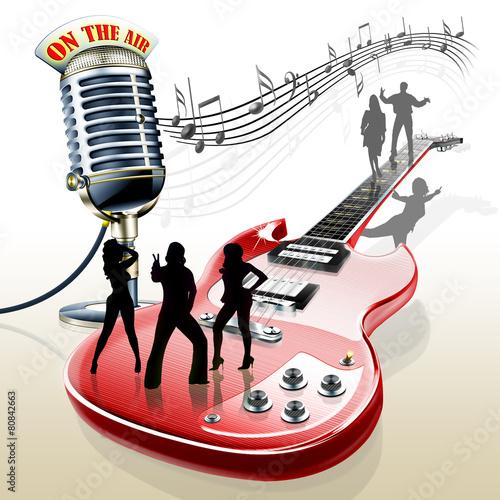 Leinwanddruck Bild E-Gitarre mit Mikrofon Band