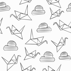 monochrome origami seamless pattern