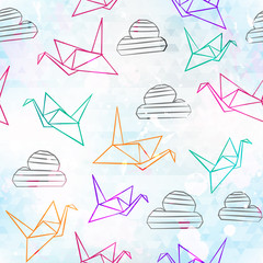 origami seamless pattern with grunge effect