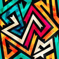 music maze seamless pattern with grunge effect