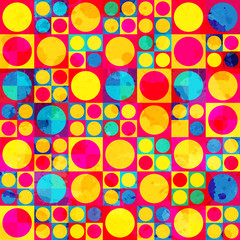 psychedelic circle seamless pattern with grunge effect