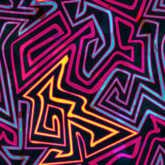 psychedelic curves seamless pattern