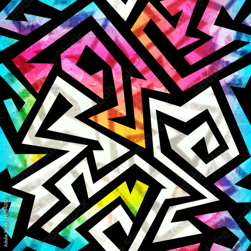 Papiers peints Artificiel music geometric seamless pattern with grunge effect